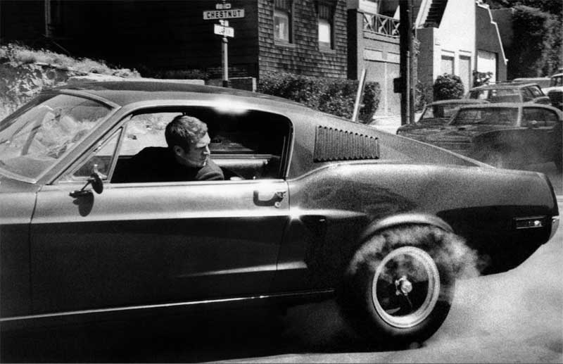 Steve McQueen in Mustang Looking Back, on the Set of Bullitt, San Francisco, 1968