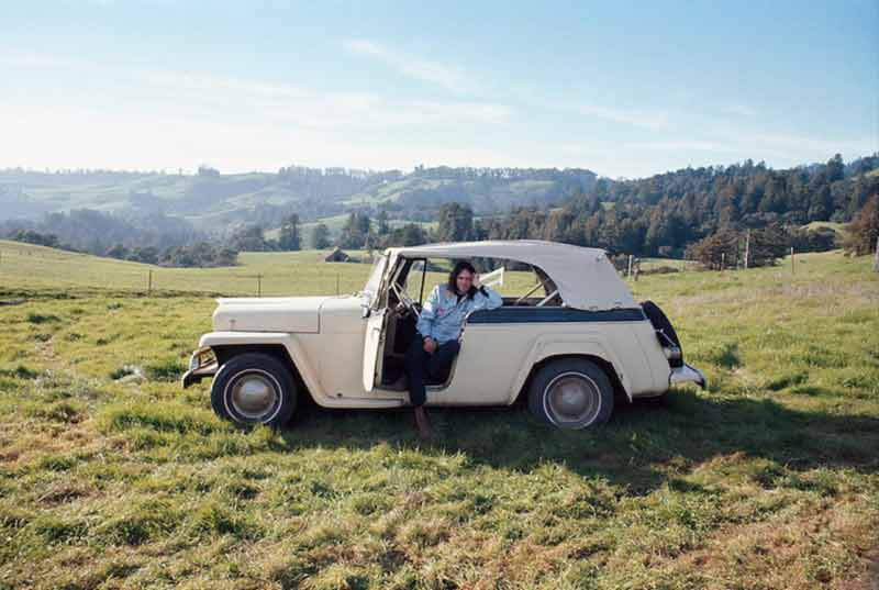Neil Young Sitting in his Overland Jeepster, Broken Arrow Ranch, CA, 1971