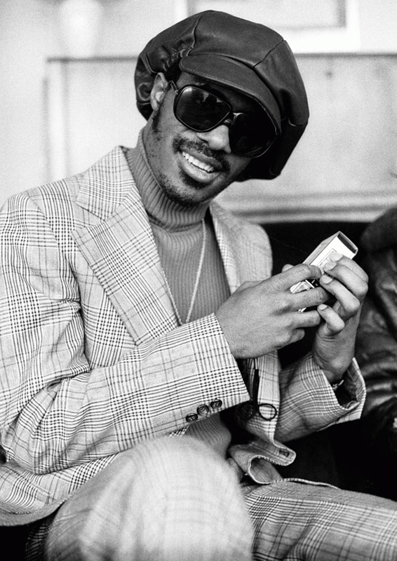 Stevie Wonder with Sony Tape Recorder, 1974