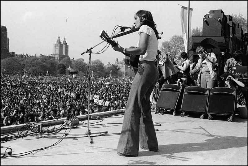 Joan Baez Performing at The War Is Over Rally, Central Park, NYC, 1975