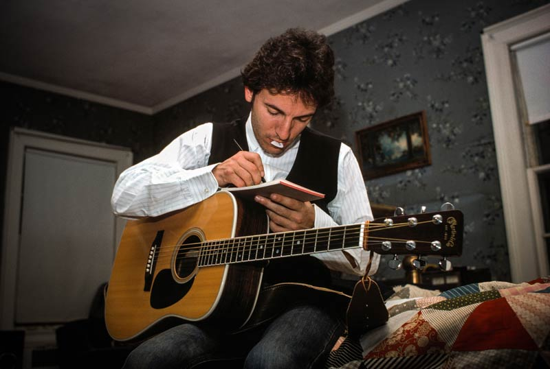 Bruce Springsteen with Guitar, Writing, NJ, 1978