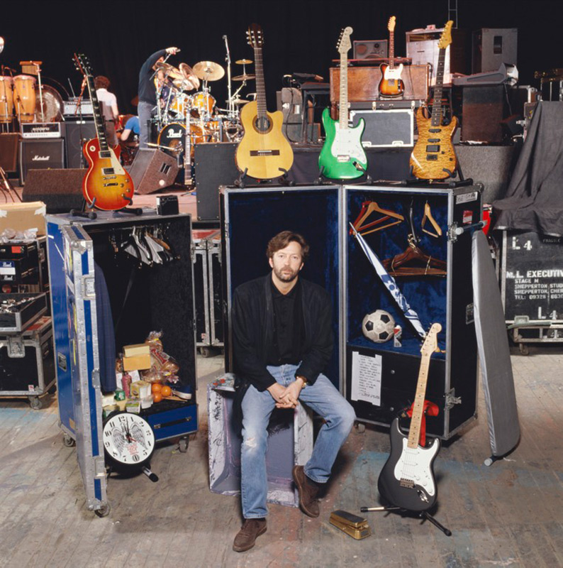 Eric Clapton Backstage with Guitars, Shepperton Studios, 1993