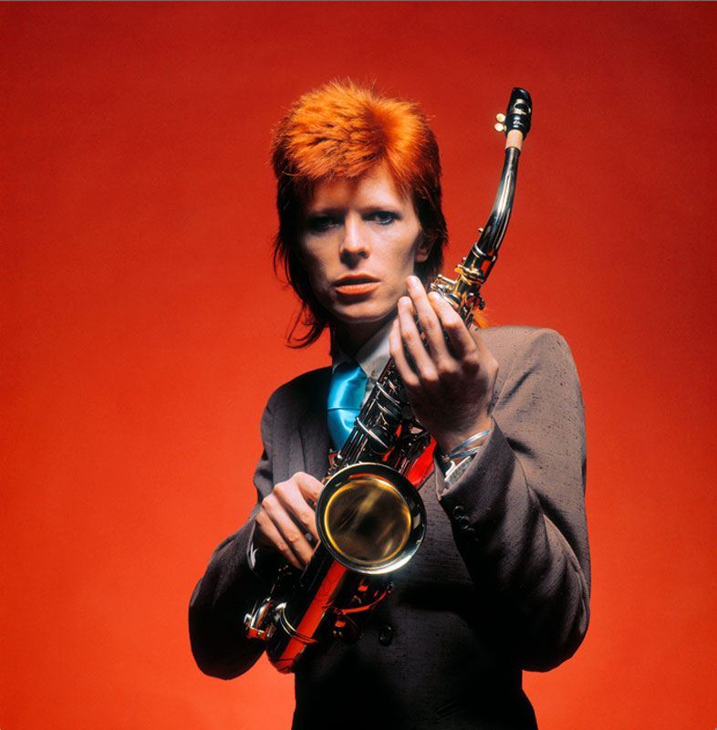 David Bowie Portrait Holding Sax Red, London, 1973