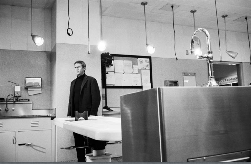 Steve McQueen in the Morgue, on the Set of Bullitt, San Francisco 1968