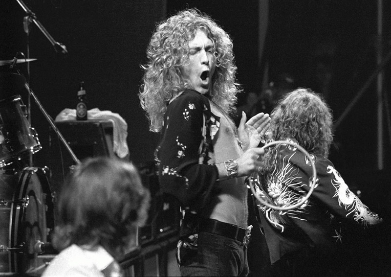 Robert Plant with Tambourine, Earls Court, London, 1975