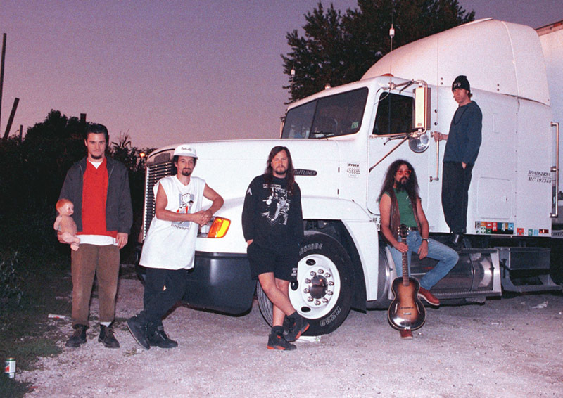Faith No More Group Portrait with Truck, Davenport, IA, 1992