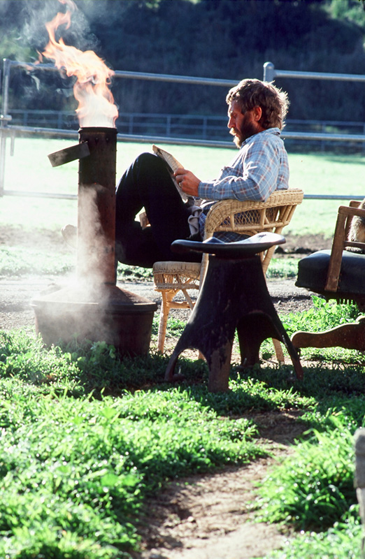 Steve McQueen, Morning Paper II ,at Home in Santa Paula, 1978 (With Stool)