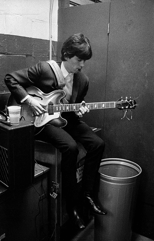 Keith Richards Playing Guitar Backstage, US Tour, 1965