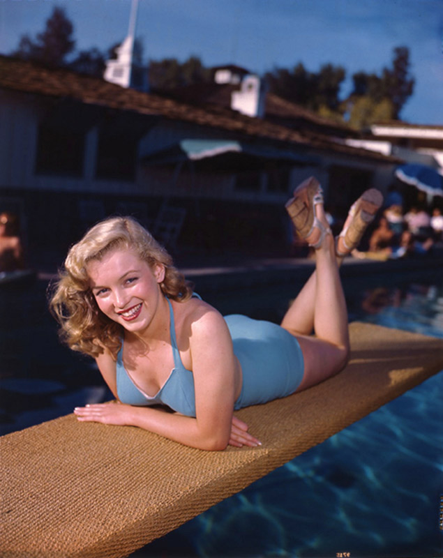 Marilyn Monroe, Palm Springs Racquet Club Diving Board (Reclining), 1949