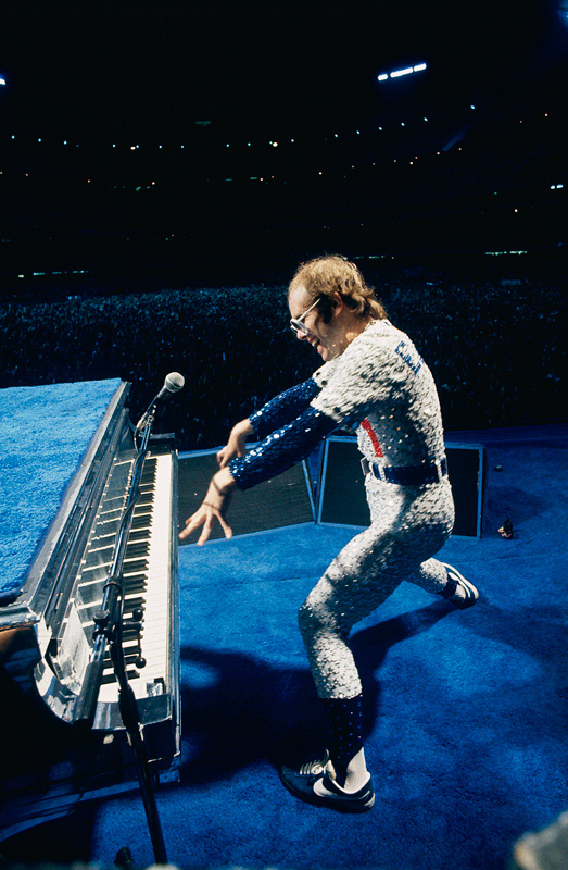 Elton John Playing Piano, Dodger Stadium, 1975 (Claw Hands)