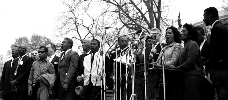 Martin Luther King, Jr. and Fellow Speakers, Selma March Platform, 1965