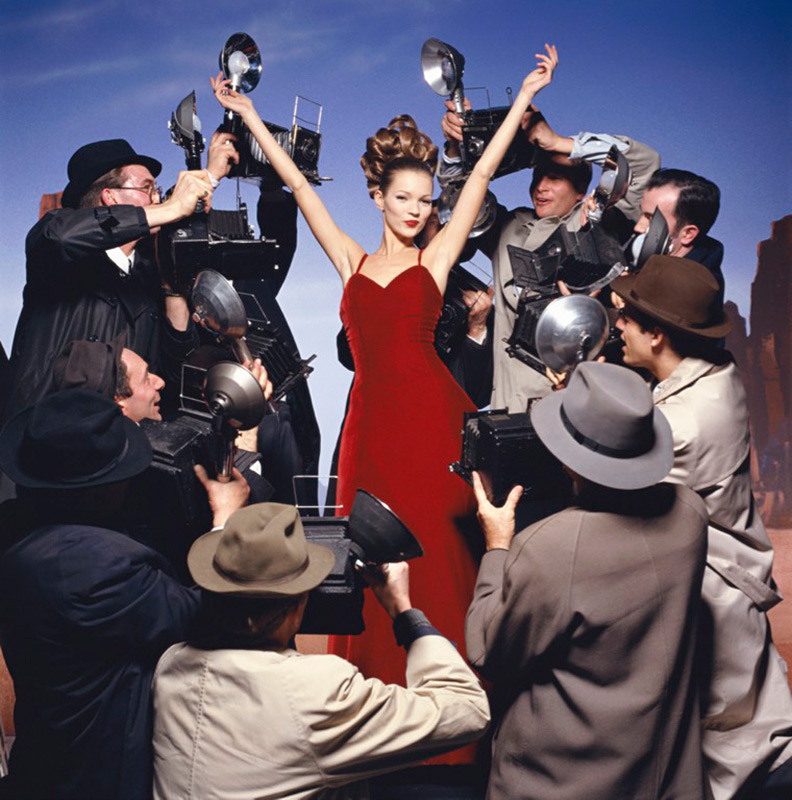 Kate Moss With Photographers, London, 1995
