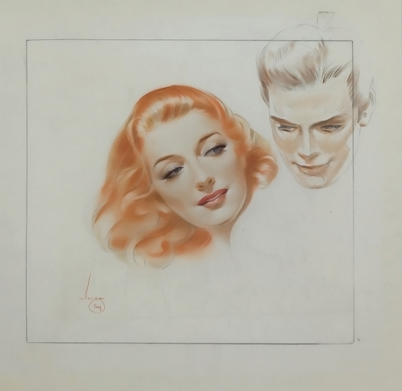 Head Studies of Woman with Red Hair Contra-posed With Head of a Man, 1944
