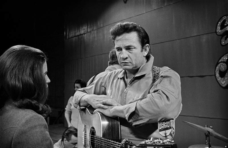 Johnny Cash With June Carter During Soundcheck at San Quentin Prison, San Quentin, CA 1969