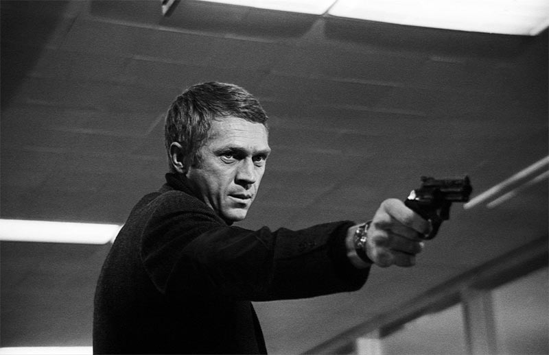 Steve McQueen Pointing Gun, on the Set of Bullitt, San Francisco, 1968