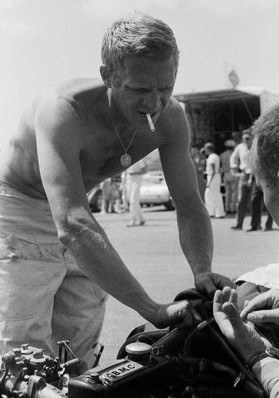 Steve McQueen Working on his #233 Cooper Formula Jr. Race Engine, Cotati, CA, 1962