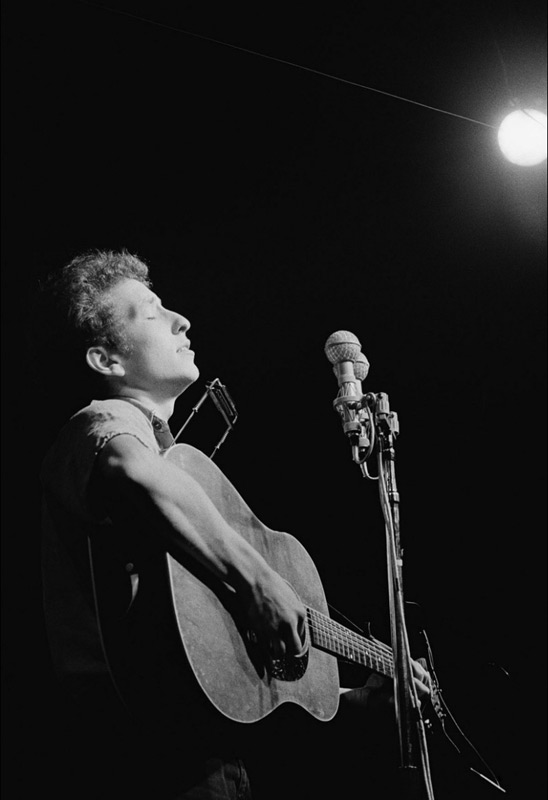 Bob Dylan Performing (face upwards), Newport Folk Festival, 1963