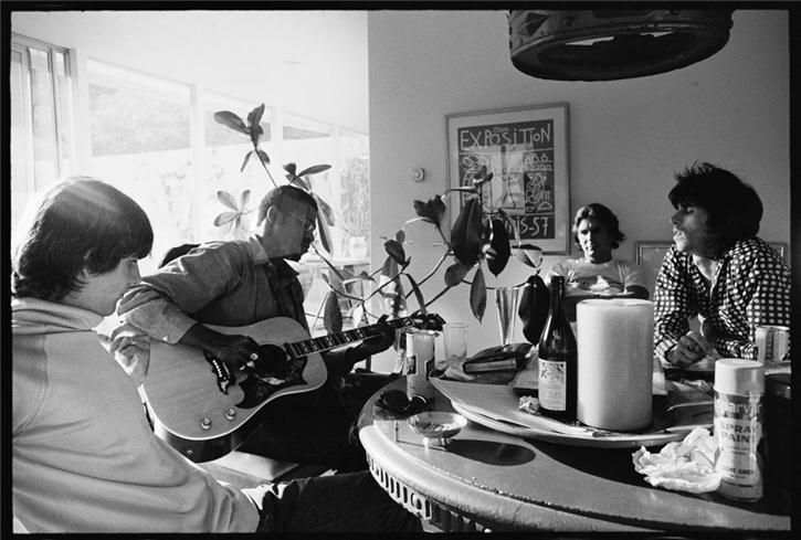 Gram Parsons, Taj Mahal, and Keith Richards at a Cafe, Los Angeles, 1968
