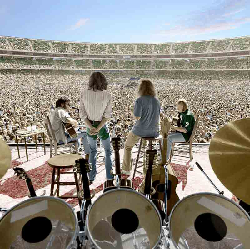 Crosby, Stills, Nash & Young Performing, Oakland, 1974 (Colorized)