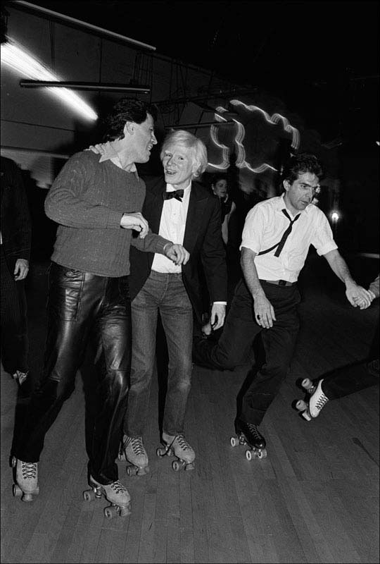 Andy Warhol at the Roxy Roller Rink, NYC, 1980