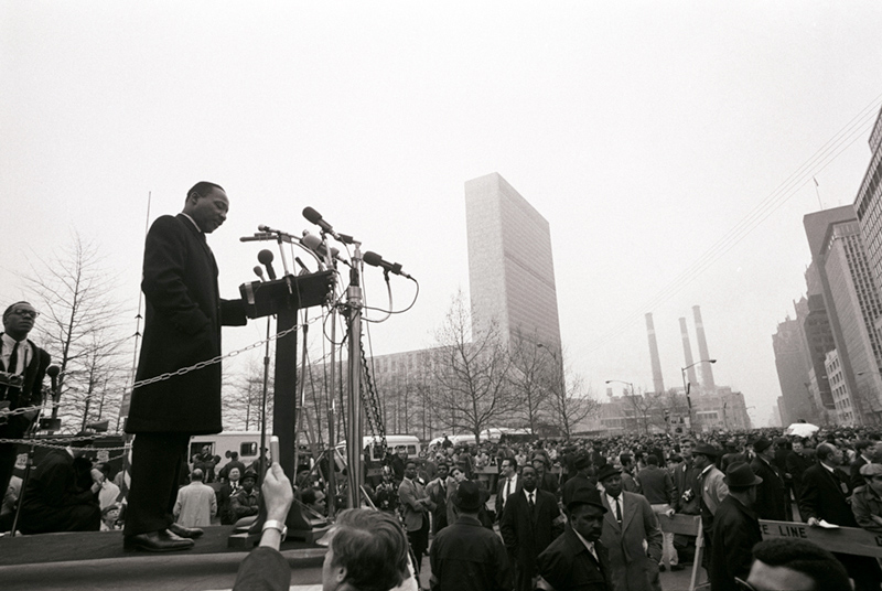 Martin Luther King Jr. Speaking Outside UN, NYC, 1967 (Crowd)