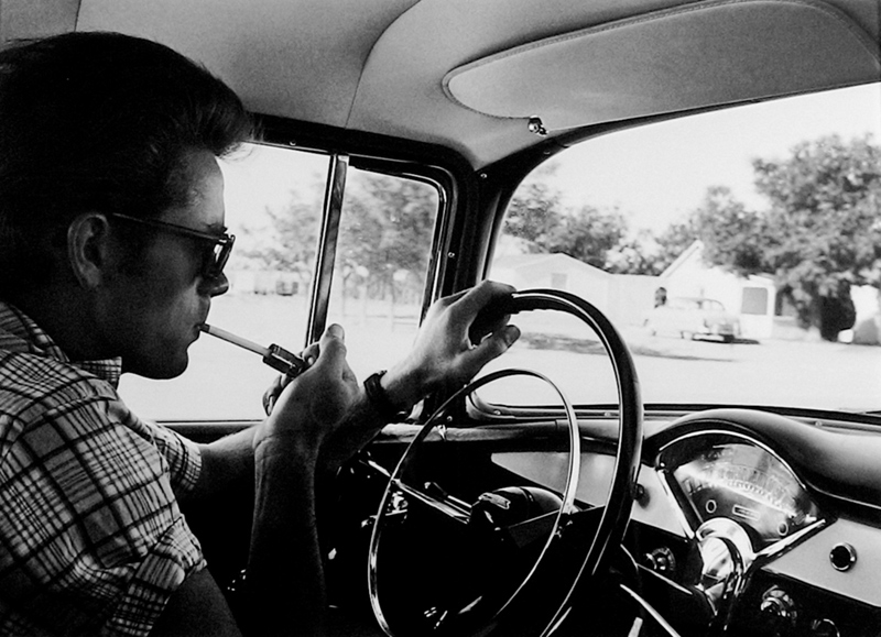 James Dean Using a Car Cigarette Lighter, Marfa, TX, 1955