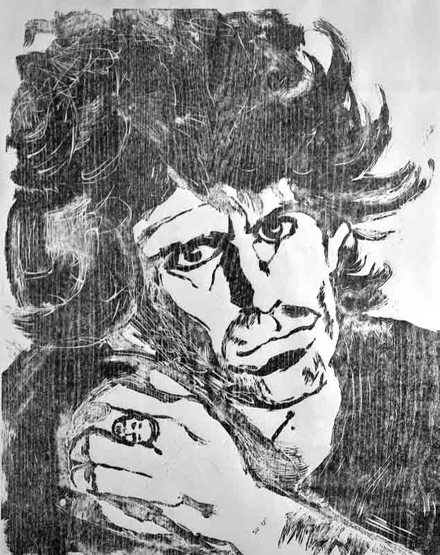 Keith Richards Woodcut, 1984