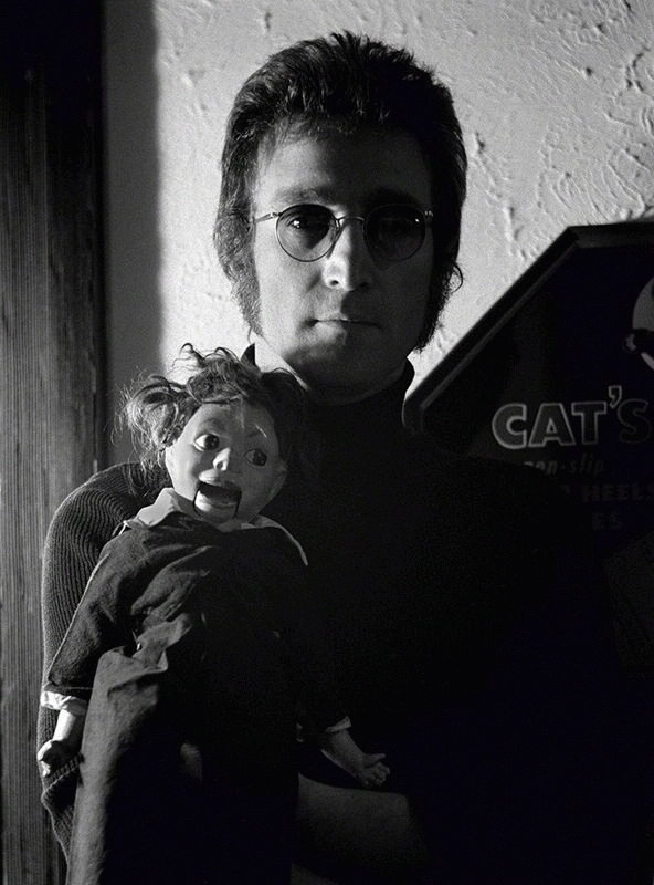 John Lennon with Dummy, Los Angeles, 1973