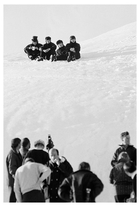 The Beatles on Snowbank, Richard Lester & Crew in Foreground, Austria, 1965 (Ref.#B31)