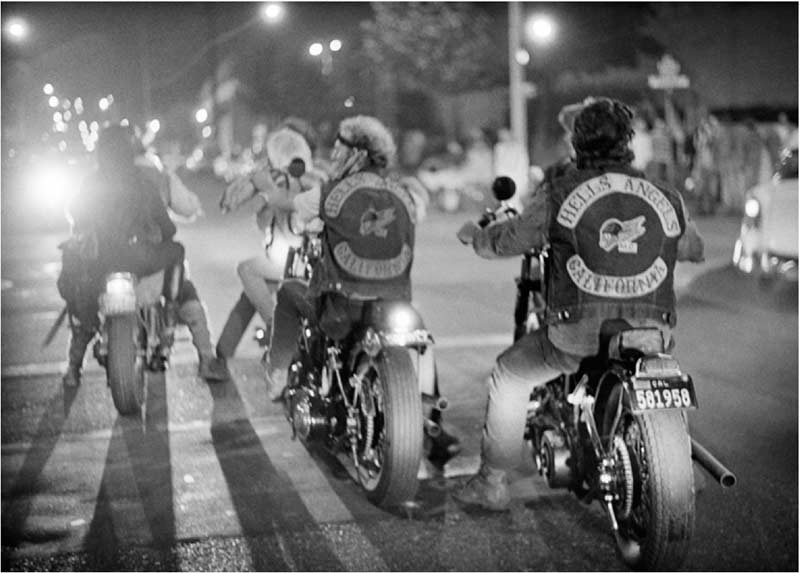 Hell's Angels Riding Off at Night, San Francisco, 1967