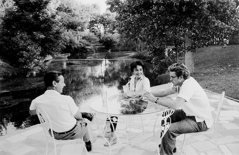 Rock Hudson, James Dean & Elizabeth Taylor at a Table, While Making Giant, Marfa, TX, 1955