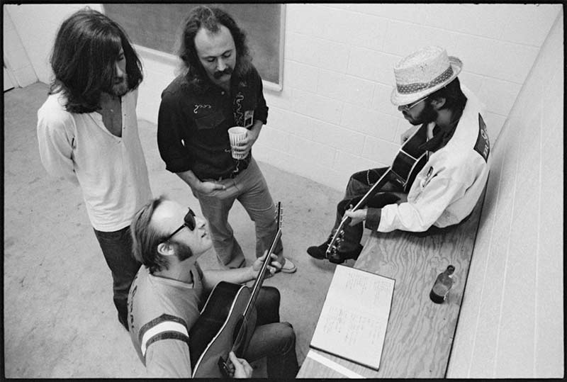 Crosby, Stills, Nash & Young Backstage, Buffalo, NY, 1974