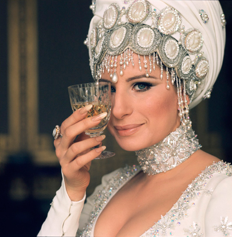 Barbra Streisand in Headdress With Glass, 1969