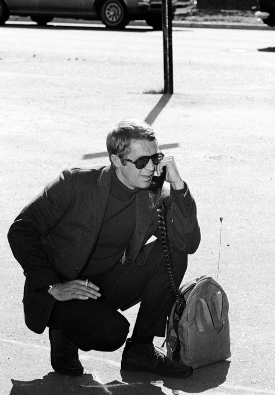 Steve McQueen Using Mobile Phone, on the Set of Bullitt, San Francisco, 1968