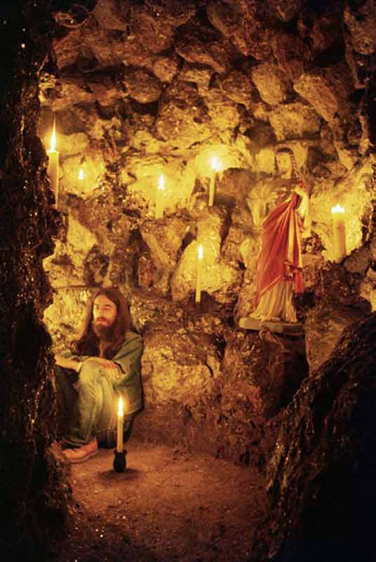 George Harrison in a Cave Shrine, Friar Park, 1970