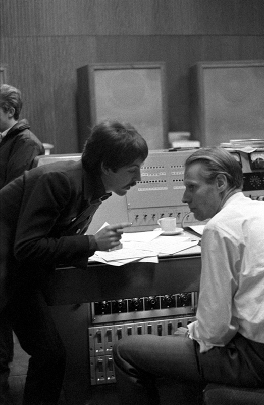 Paul McCartney and George Martin, Abbey Road Studios, 1966