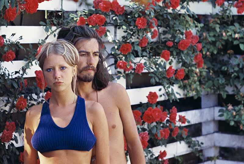 Pattie and George in the Rose Garden, 1968