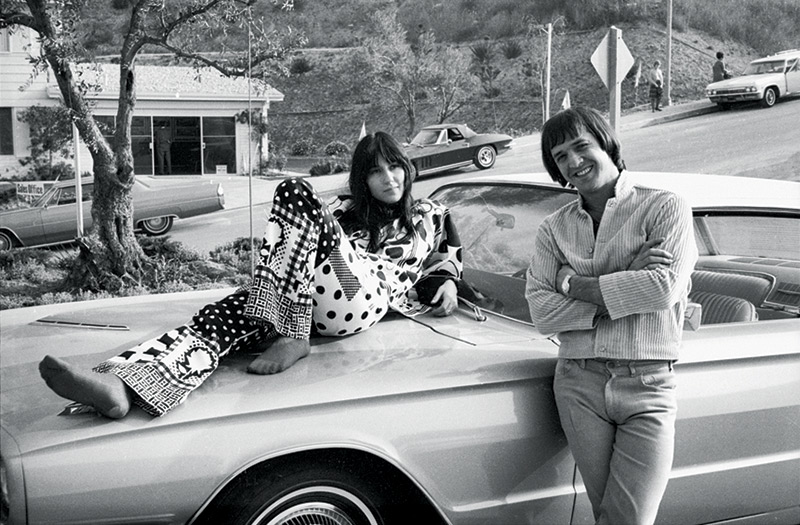 Sonny & Cher Posing with their Car, Los Angeles, CA, 1966