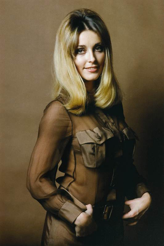 Sharon Tate Studio Portrait in Brown Sheer Top, 1967