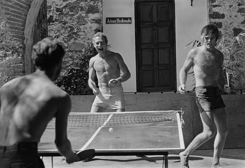 Paul Newman & Robert Redford Playing Ping Pong Mexico 1968