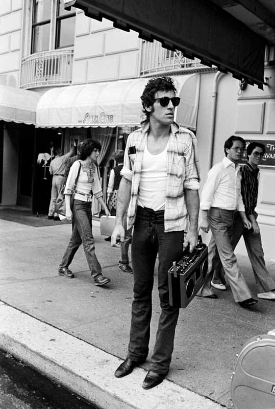 Bruce Springsteen on Sidewalk with Boombox, 1978