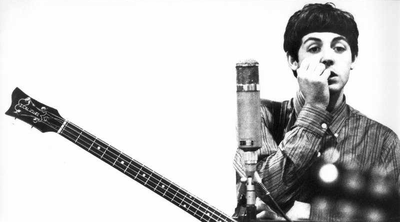 Paul McCartney With Hofner Bass and Mic, Abbey Road Studios, 1963