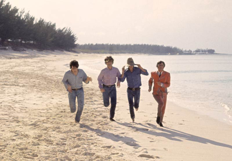 The Beatles Running on Paradise Beach, Bahamas, 1965 (Color)