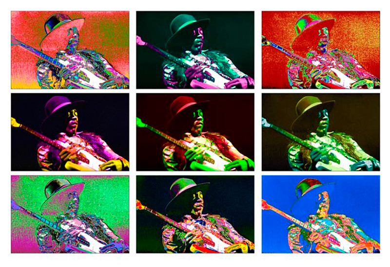 Jimi Hendrix Performing at Fillmore East, NYC, 1968 (3x3 Montage)