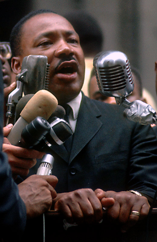 Martin Luther King Jr., Speaking into Microphones, City Hall, Chicago, 1966