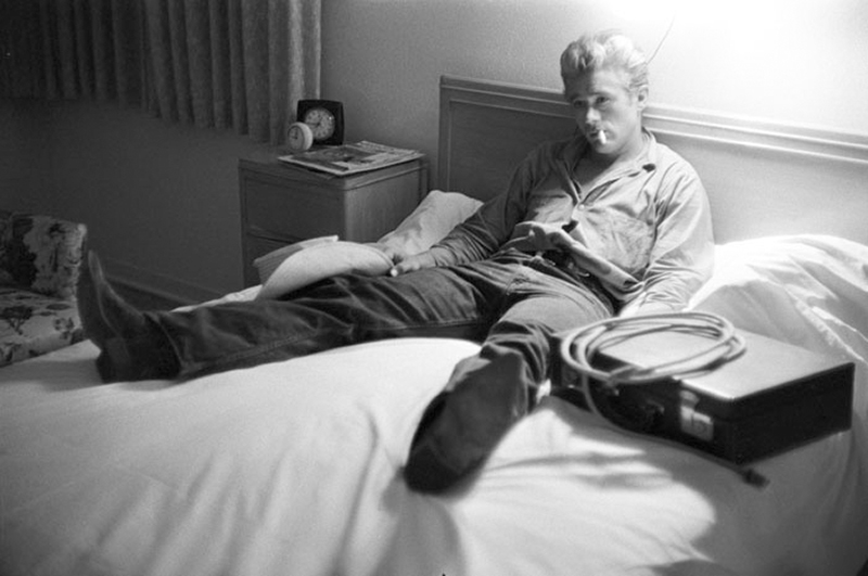 James Dean Lying on Bed While Making Giant, Marfa, TX, 1955