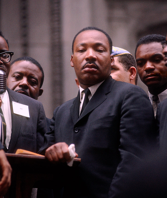 Martin Luther King Jr., Stoic at Podium, City Hall, Chicago, 1966