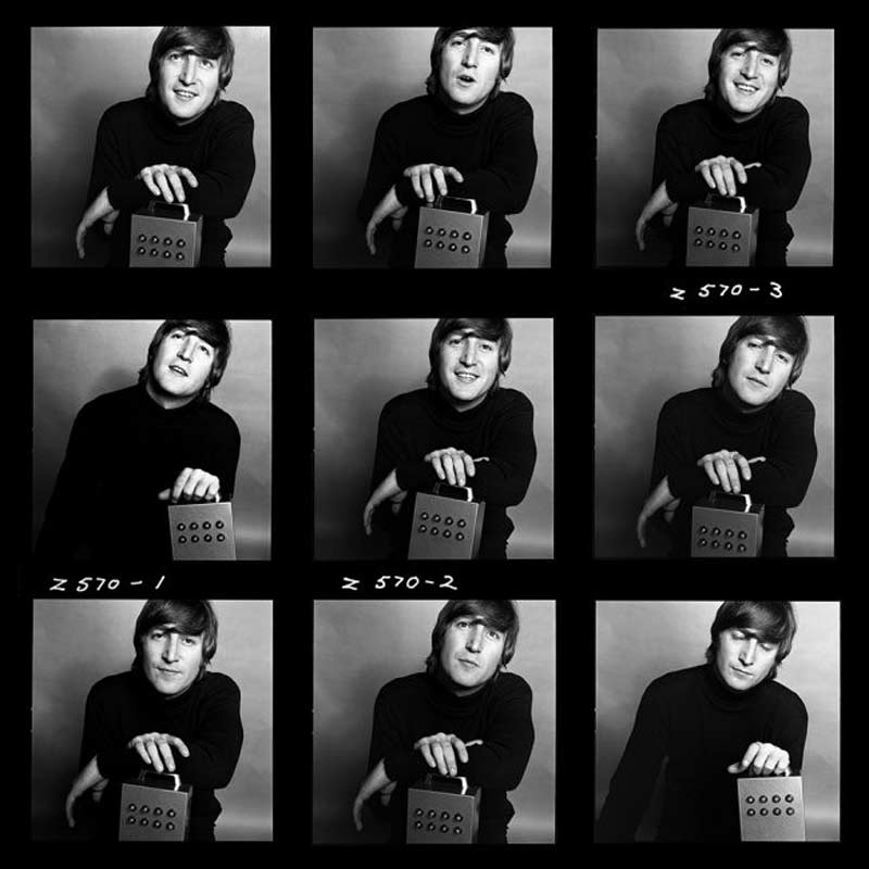 John Lennon with Nothing Box Contact Sheet, 1965