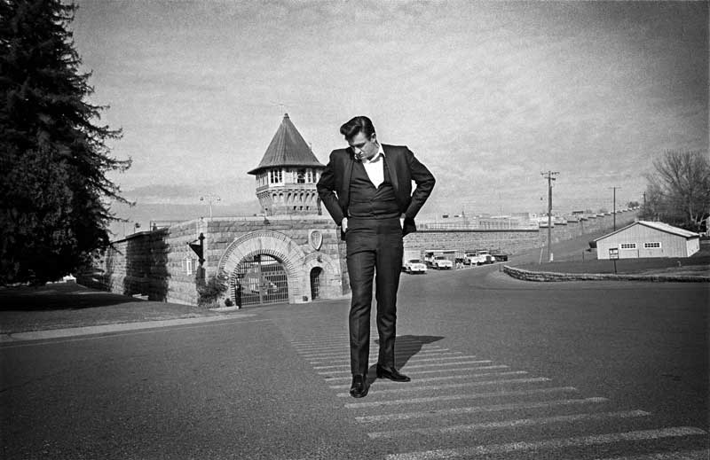 Johnny Cash Standing Outside Front Gate at Folsom Prison, Folsom, CA 1968