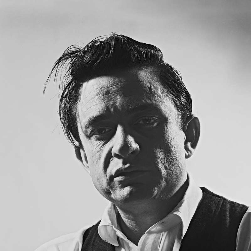 Johnny Cash Portrait with Shadowed Face, Photo Studio, 1960
